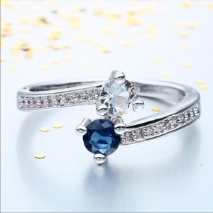 💞HP💞STERLING SILVER PLATED BLUE SAPPHIRE RING